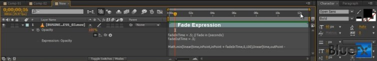 fade expression after effects