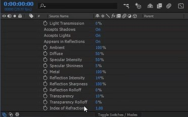 Material Options Panel in After Effects