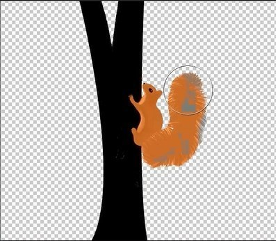 painting the squirrel using blending modes in AE