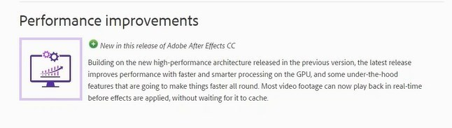 Performance Improvements in After Effects 2017