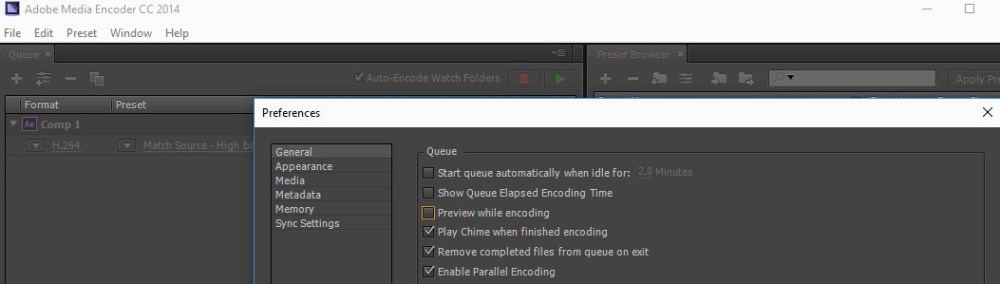 uncheck preview while encoding